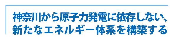 神奈川から原子力発電に依存しない、 新たなエネルギー体系を構築する