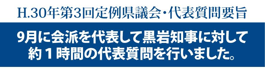 H.30年第3回定例県議会・代表質問要旨 近藤だいすけの県政ニュース
